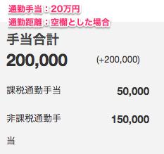 通勤手当20万円、通勤距離を空白とした場合の手当合計のスクリーンショット