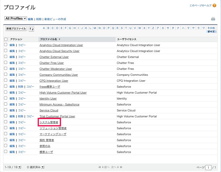 「プロファイル」画面でカスタム権限を有効化したい「プロファイル名」を指し示しているスクリーンショット