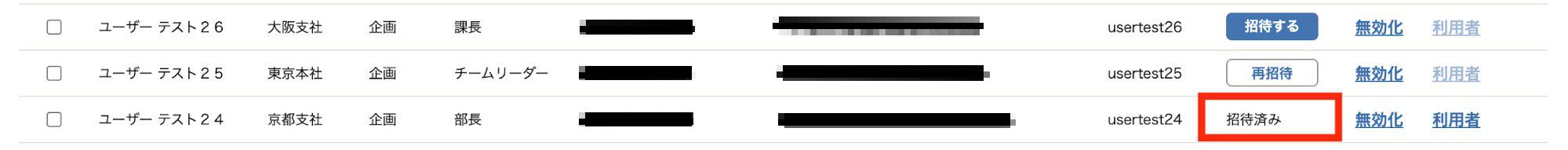従業員基本情報一覧画面の招待状況欄にある「招待済み」表示を指し示しているスクリーンショット